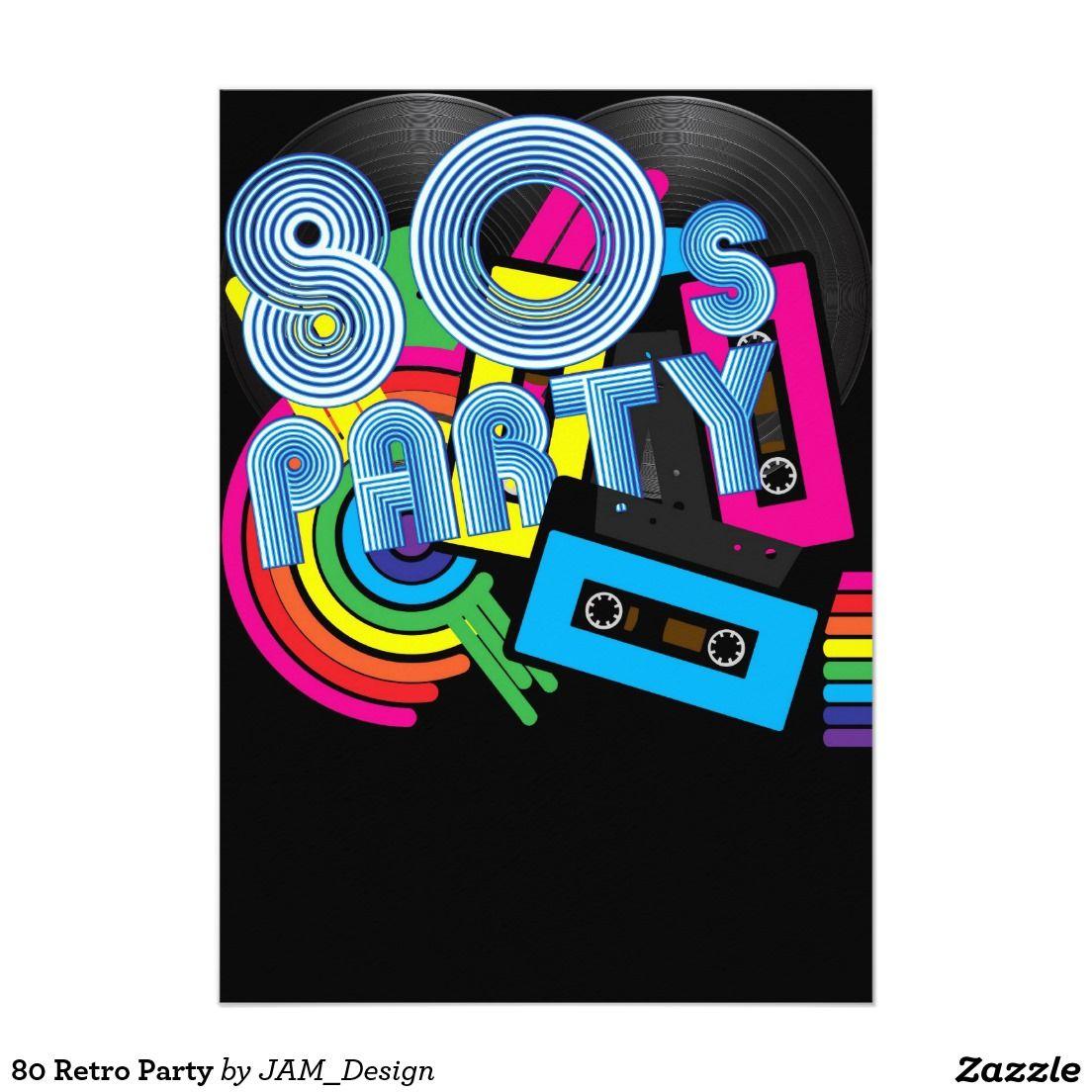 Invitación Fiesta Retro 80 Zazzle Com Fiesta Retro