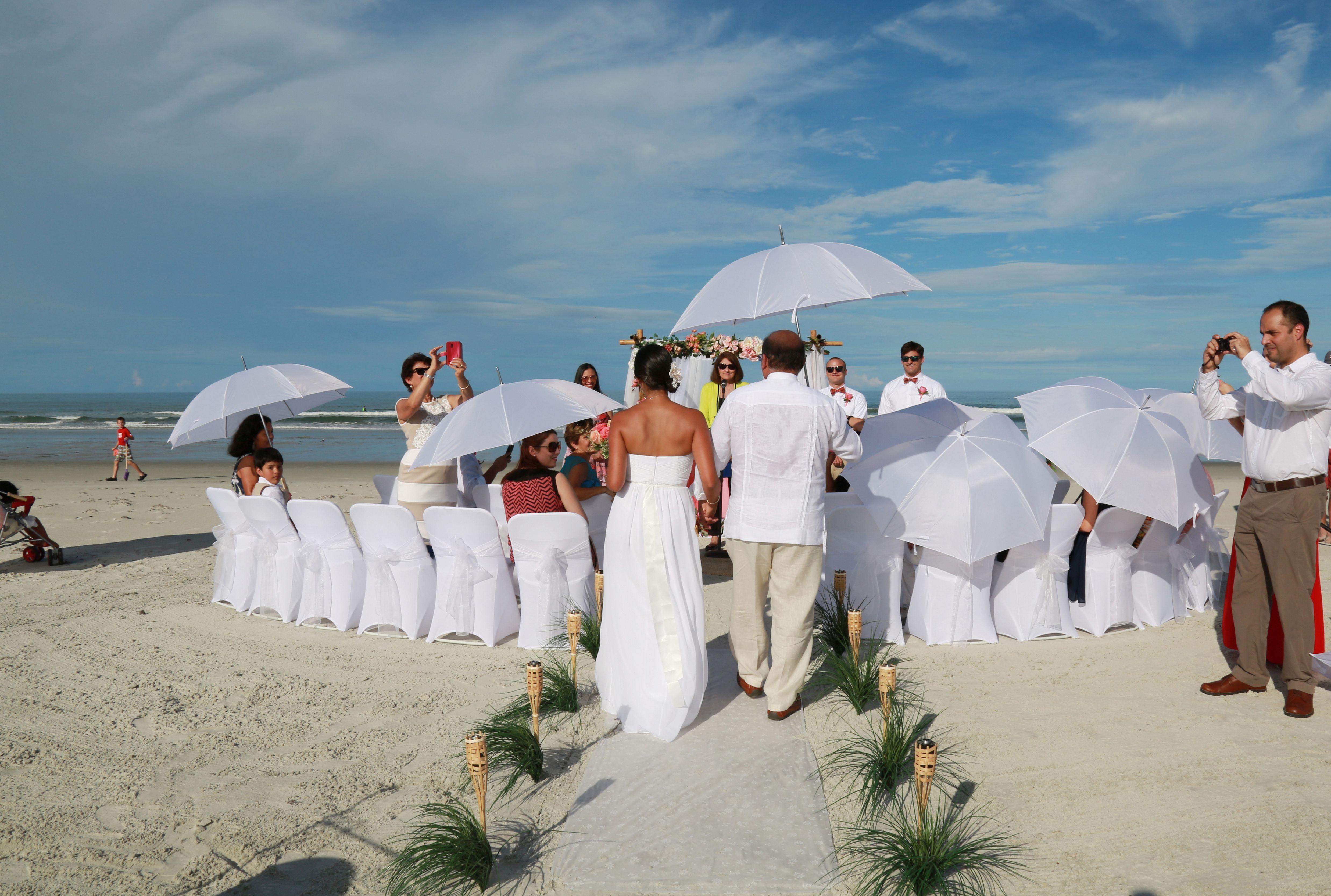 White Umbrellas For Shade At Beach Wedding In New Smyrna Florida Destination