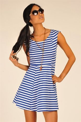 Blanc Stripe Dress - Blue