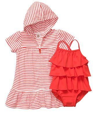 ee9f8056d7 Carters Baby Girls Kids 2 Piece Terry Hooded Cover up Swim Wear Children  Clothes