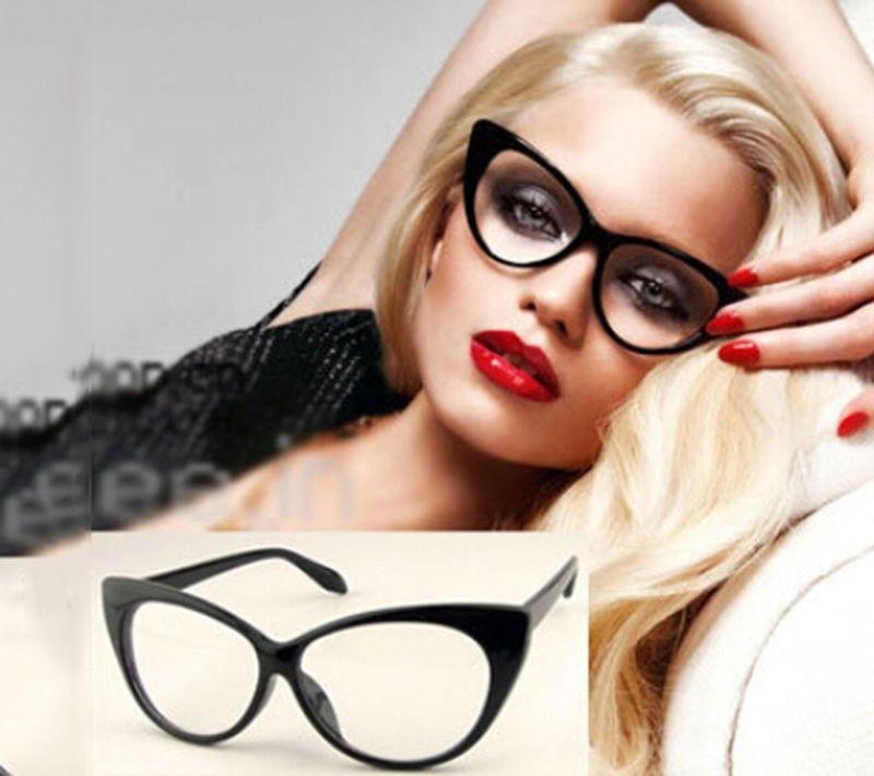 e66ebe0bb7d1 Brand New Designer Cat Eye Glasses Retro Fashion Black Women Glasses Frame  Clear Lens Vintage Eyewear-in Eyewear Frames from Women s Clothing    Accessories ...