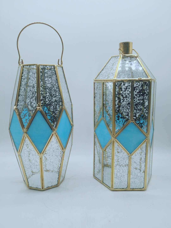 Glass Lantern Brass frame, Glass lantern, Copper frame