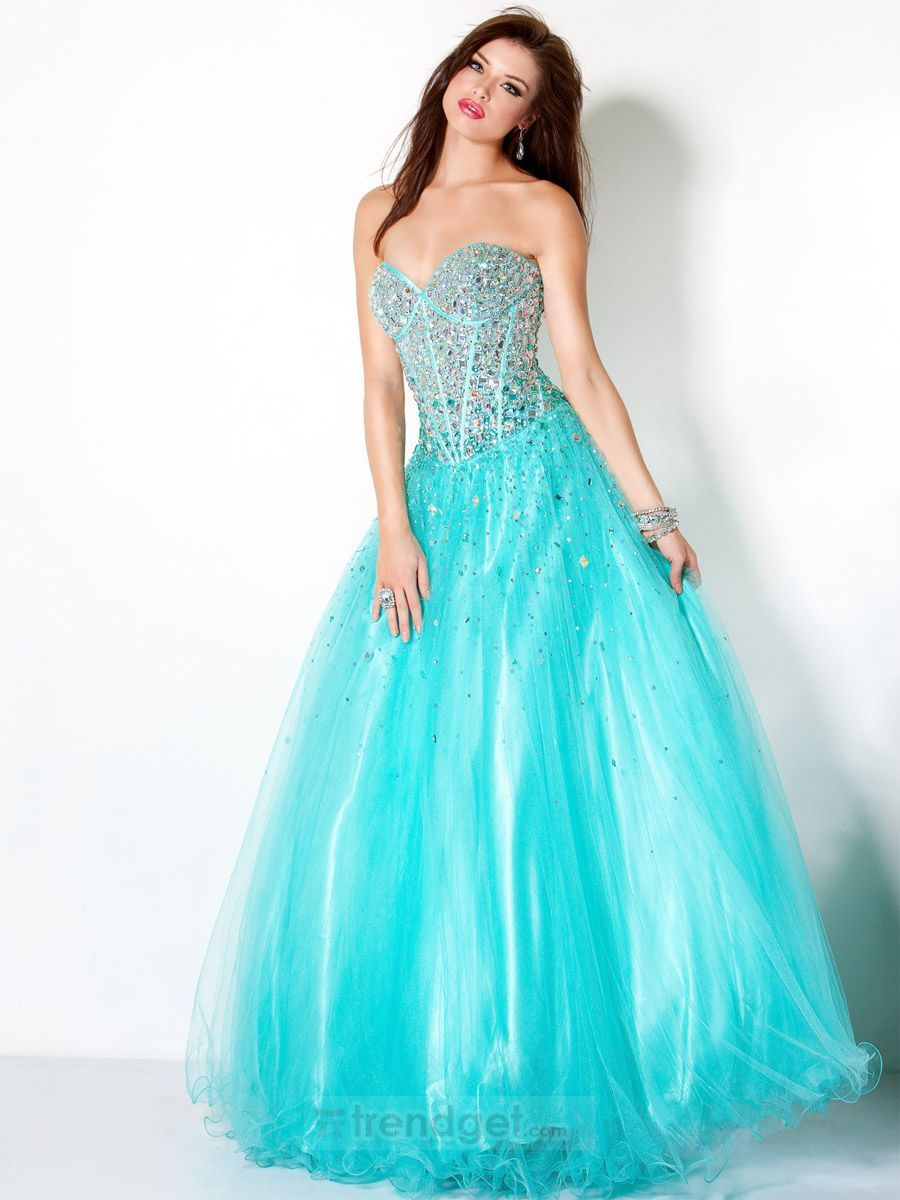 2013 Tiffany Ball Gown Sweetheart Floor-length Organza Blue Prom ...