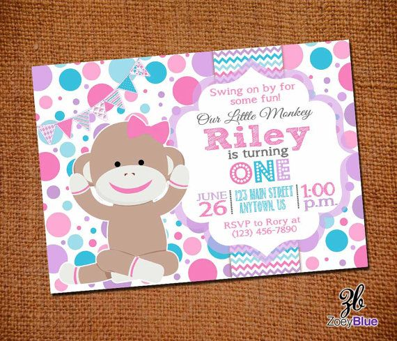 Sock Monkey Girl Birthday Invitation Pink By ZoeyBlueDesigns 1200