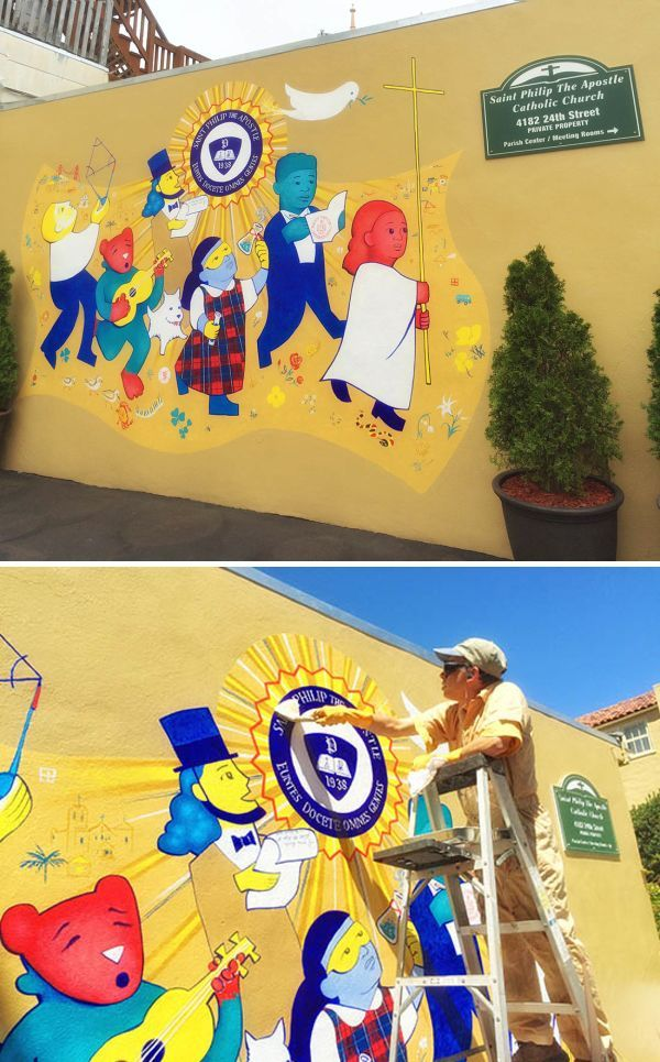 Murals by Stefan Salinas at St Philip the Apostle School | Wall ...