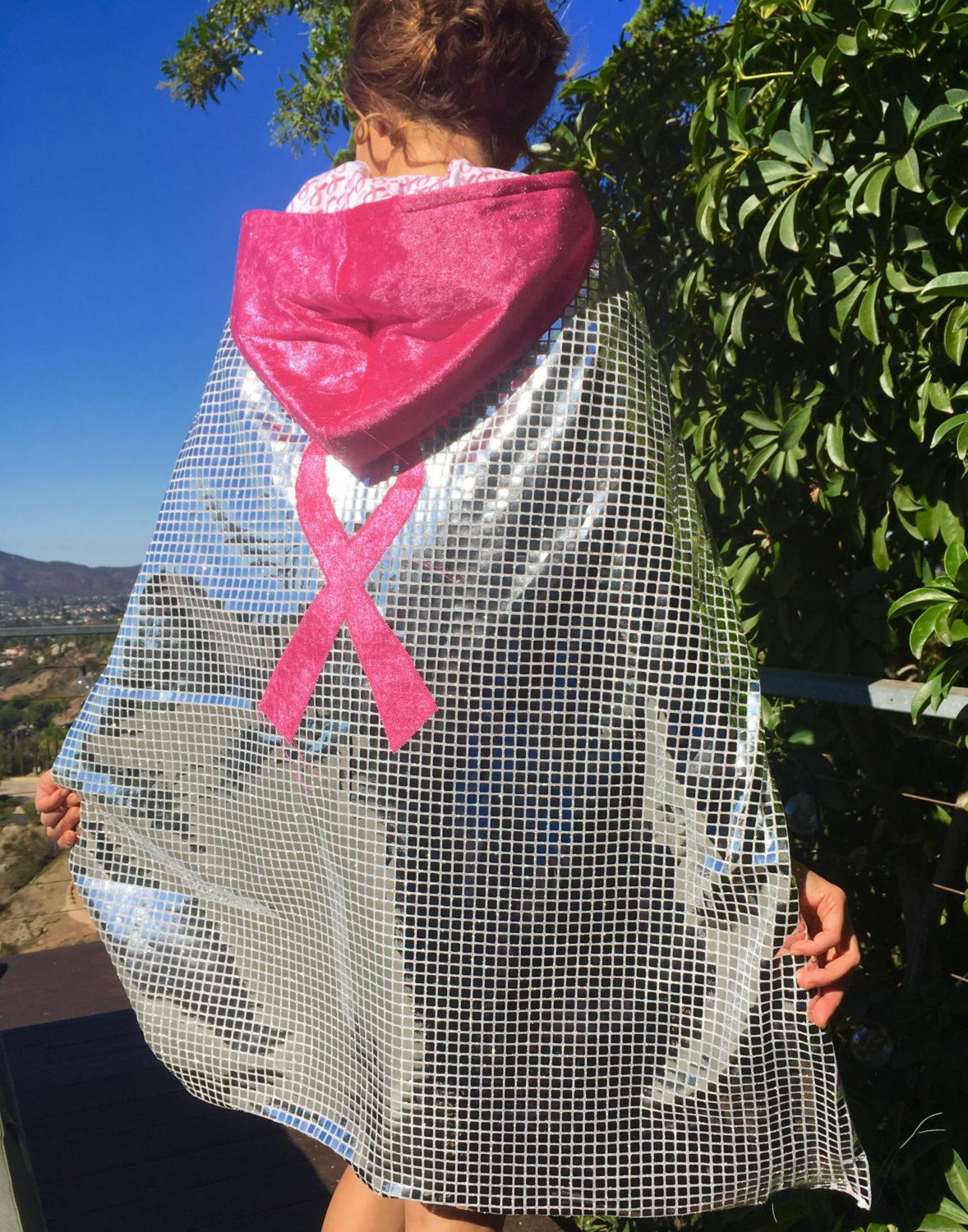 Shiny Hooded Pink Ribbon Superhero Cape for Breast Cancer Awareness H3BX98