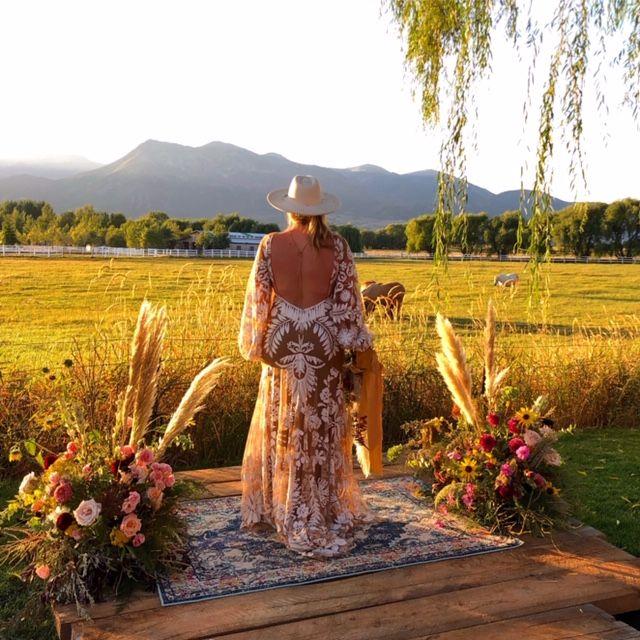 Boho Wedding, Pampas Grass, Utah, Ceremony Flowers