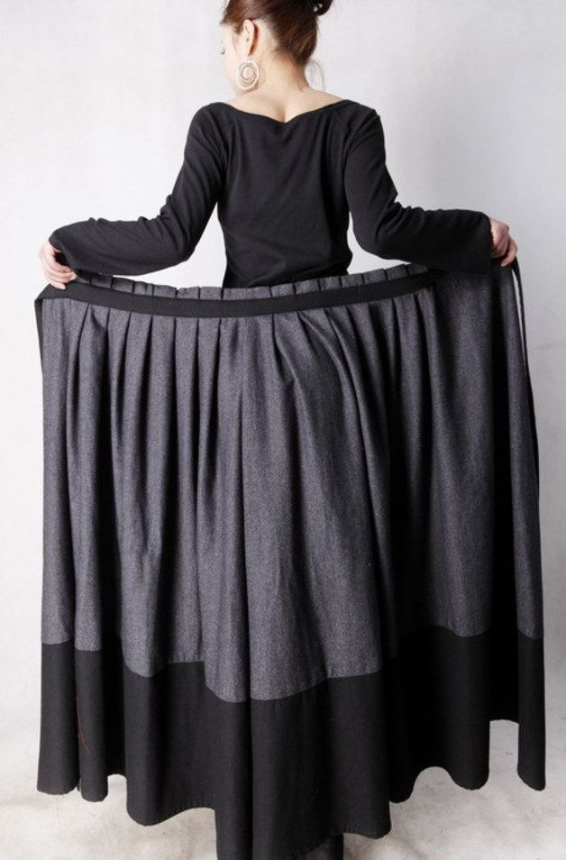Jupes longues, Laine gris jupe portefeuille Hiver Jupe