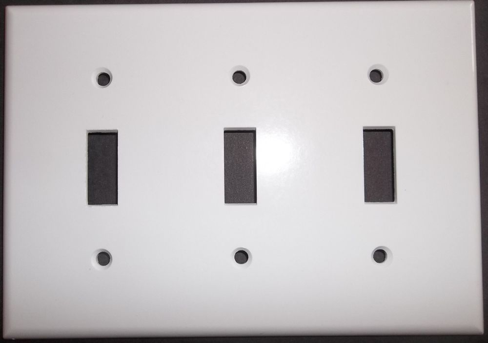 Plain white Triple Toggle light switch covers replacement repair ...