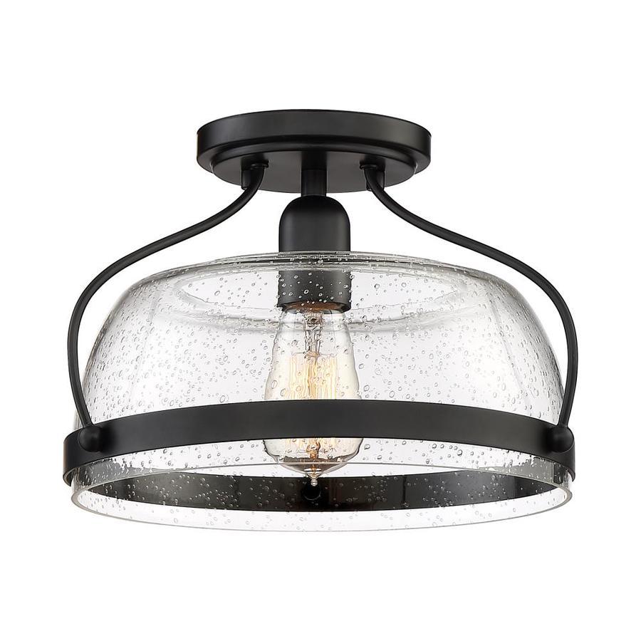 Quoizel Henderson 12.5-in Black Semi-flush Mount Light Lowes.com