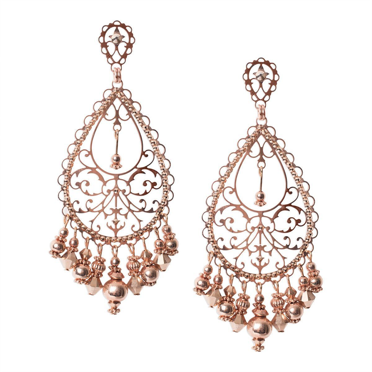 Rose Gold Filigree Drop Earrings with Dangles by LK Designs