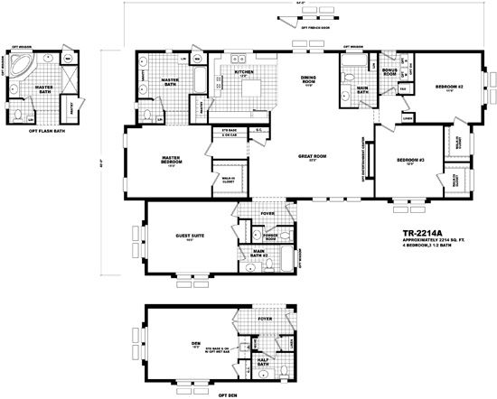 Homes By Cavco West Territorial Series Tr 2214a Cavco Floor Plans Manufactured Homes Floor Plans House Floor Plans