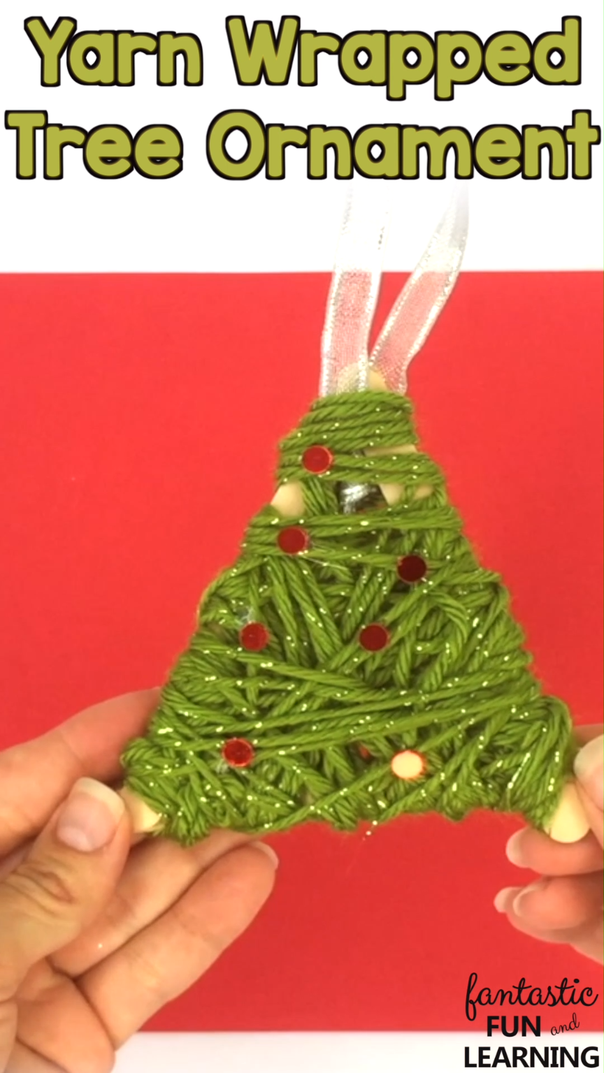Easy Christmas Ornament Craft For Kids To Make Yarn Wrapped Christmas Tree Ornament C Easy Christmas Ornaments Christmas Ornament Crafts Yarn Crafts For Kids