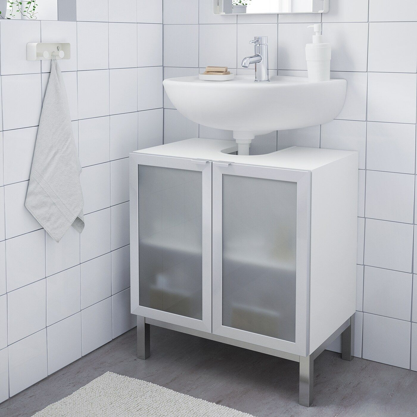 Lillangen Waschbeckenunterschrank 2 Turen Weiss Aluminium Ikea Osterreich In 2020 Waschbeckenunterschrank Ikea Lillangen Kleines Bad Dekorieren