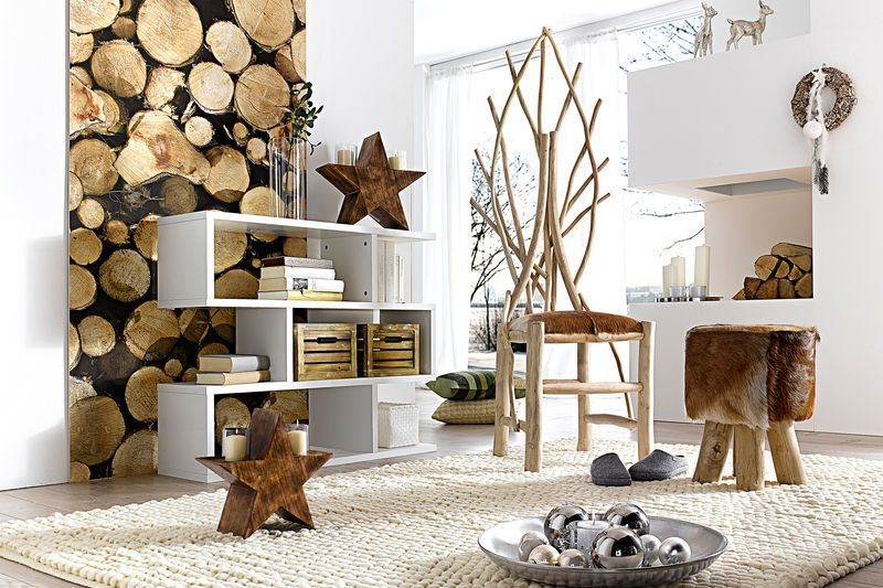 Un Séjour Avec Mobilier Bois Pour Une Décoration Style Scandinave - Canapé convertible scandinave pour noël decoration meuble salon