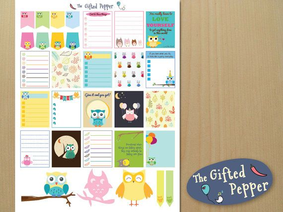 Owls Sticker Kit Printable Cute Owl Theme Planner Decoration