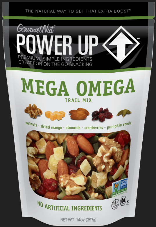 Power Up Mega Omega Trail Mix from Gourmet Nut, 14 oz ...