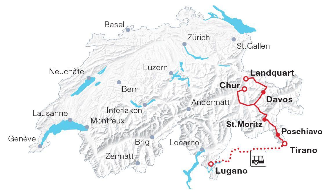 Map Bernina Express Bernina Express Swiss Travel Travel Cards