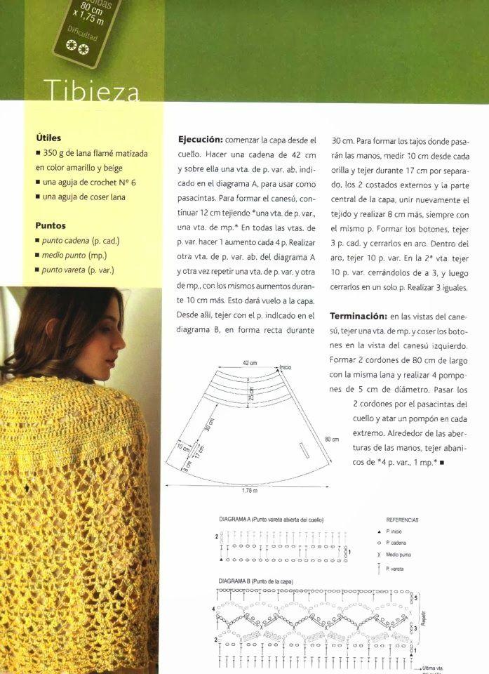 poncho-capa-crochet-patron2.jpg (697×960) | Poncho Tejido ...