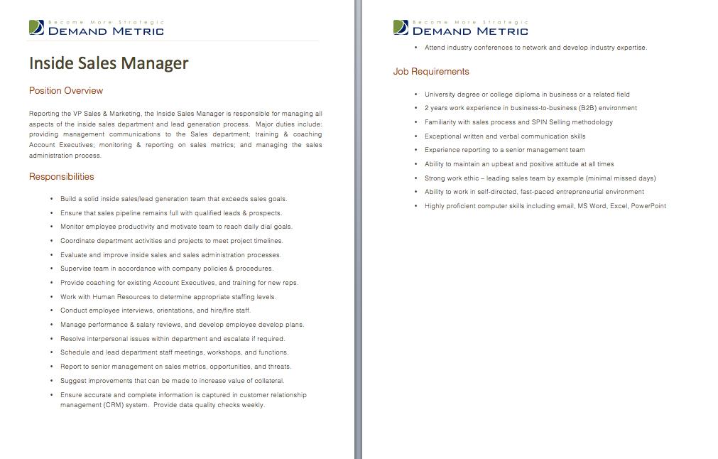 Inside Sales Manager Job Description A template to