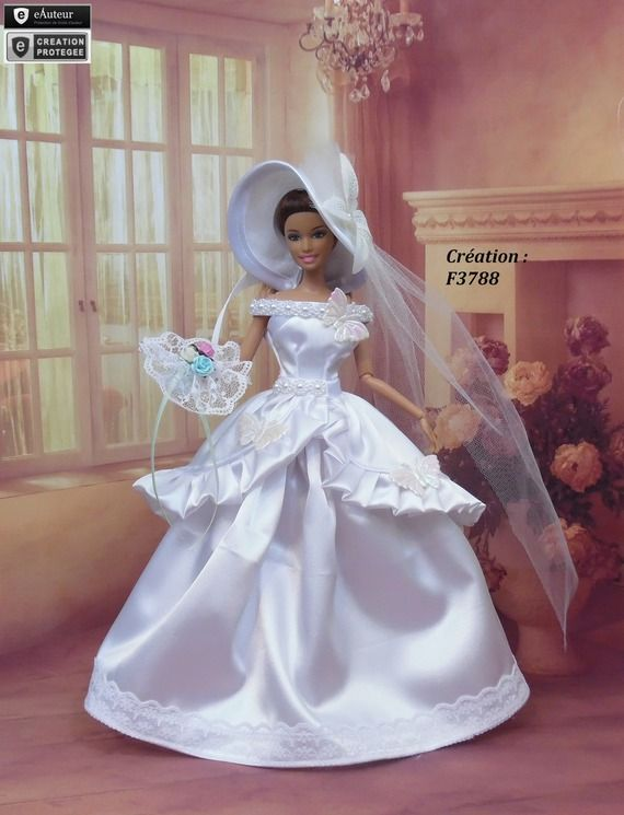 Robe Barbie mariée N°25 Vêtement pour poupée Barbie Silkstone Fashion Royalty Muse f3788 | Robe ...