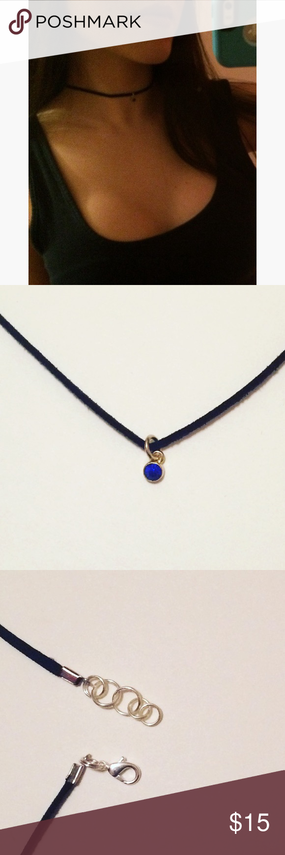 Black choker with blue jewel charm Black suede cording with a small blue jewel charm. Adjustable from 13 inches up to 13 1/2 inches. Please make sure measurement will fit before purchasing. (Not brand listed) Free People Jewelry Necklaces