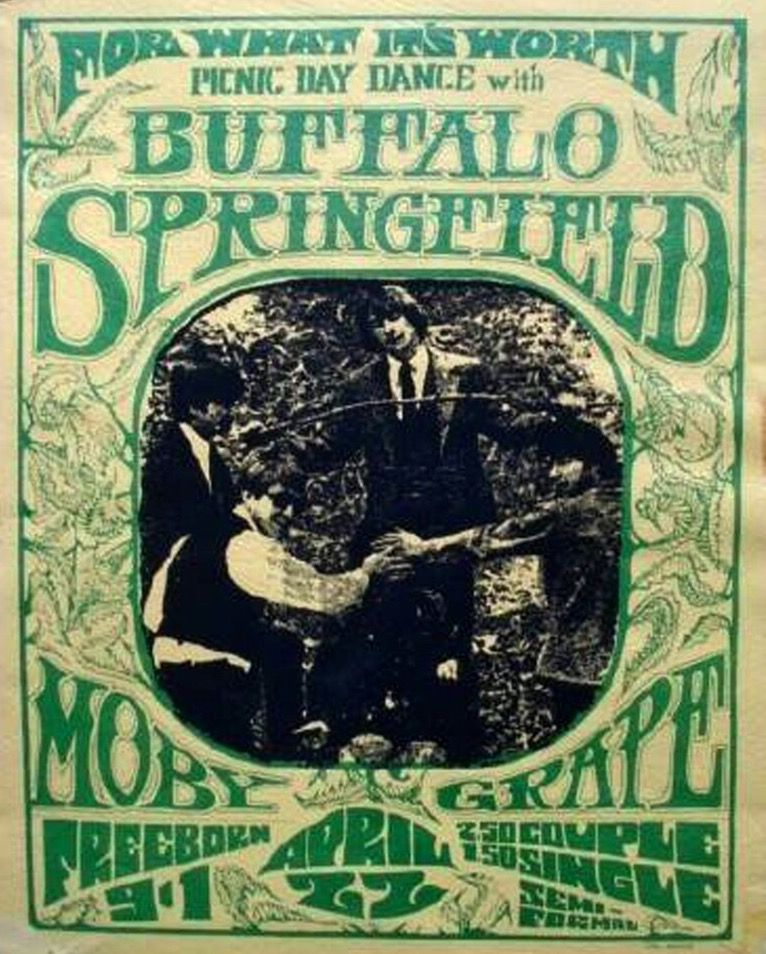 1967 Picnic Day Dance, featuring Buffalo Springfield and Moby Grape. Art by Thomas Morris.