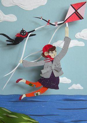 """Flight by Kite,"" fashion illustration,  Small Magazine , Autumn 2008"