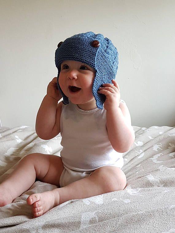 f87abdd57b894 Boys Ear Flap Hat, Knitted Baby Hat, Boys Hat, Hand Knit Baby Hat ...