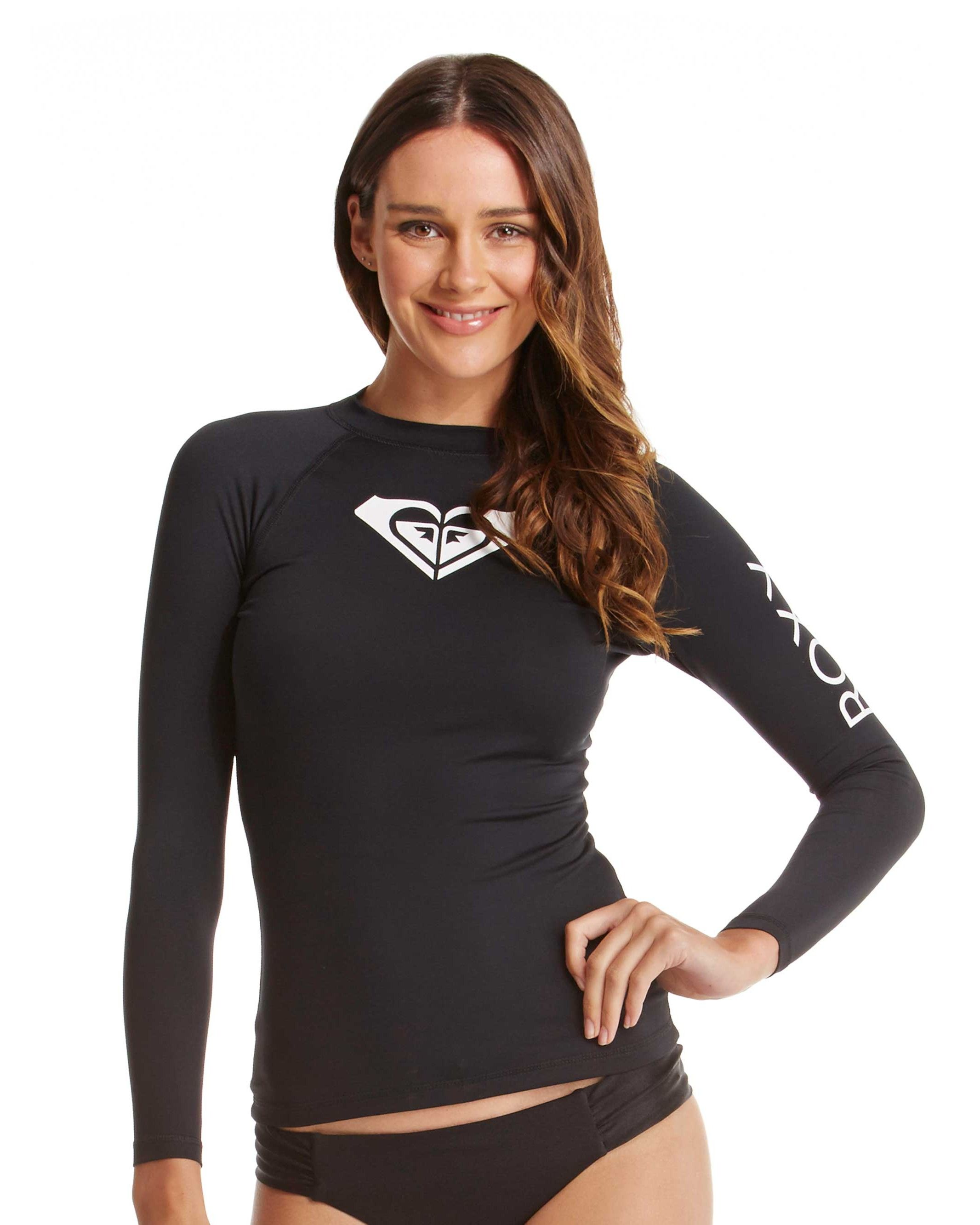 NEW-ROXY-Ladies-Whole-Hearted-Long-Sleeve-Rash-Vest-Womens-Rash-Guard-Rashsuit