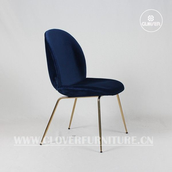 Replica Beetle Chair Dark Blue Velvet Gold Legs Beetle