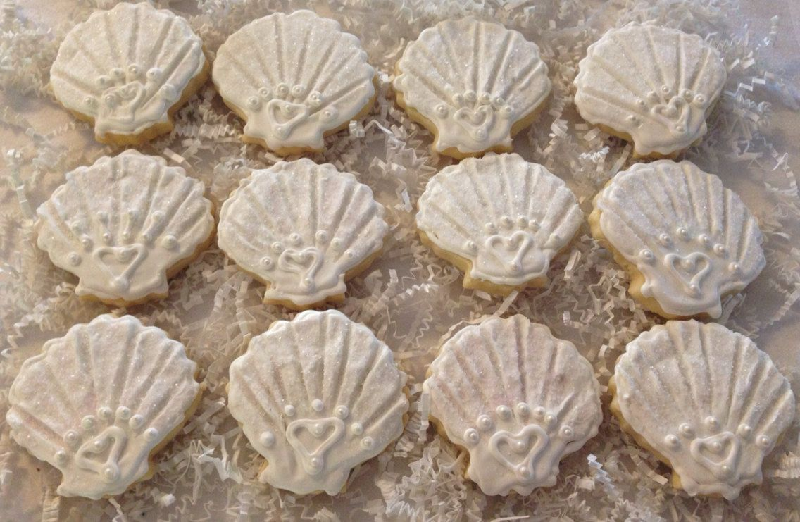 Shell Wedding Favor Sugar Cookie by CrowsCustomCookies on Etsy