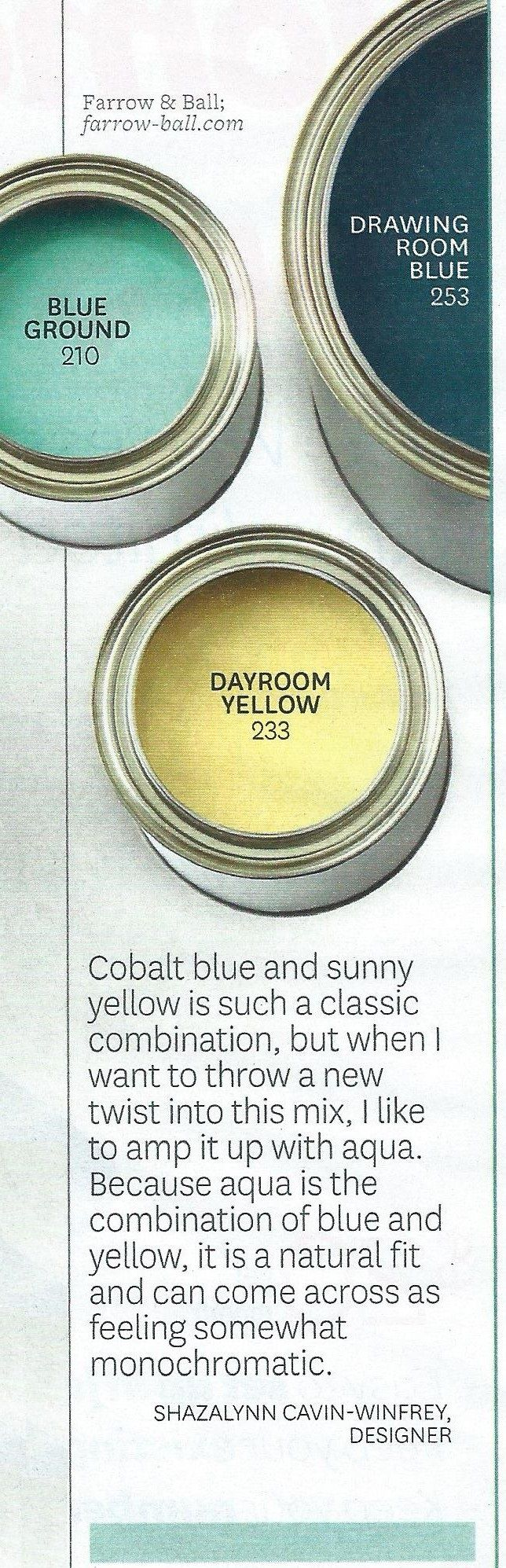 Navy/colbalt blue, yellow, and teal color scheme (BHG, April 2014)