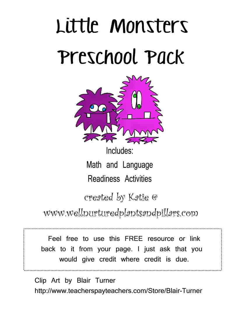 FREE Monster Themed PRINTABLE Pack... includes patterns, colors, pre-writing and more