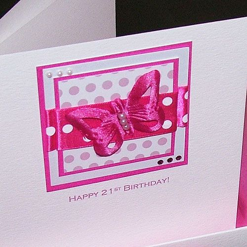 Handmade 21st Birthday Card For Daughter Sister Niece Pink
