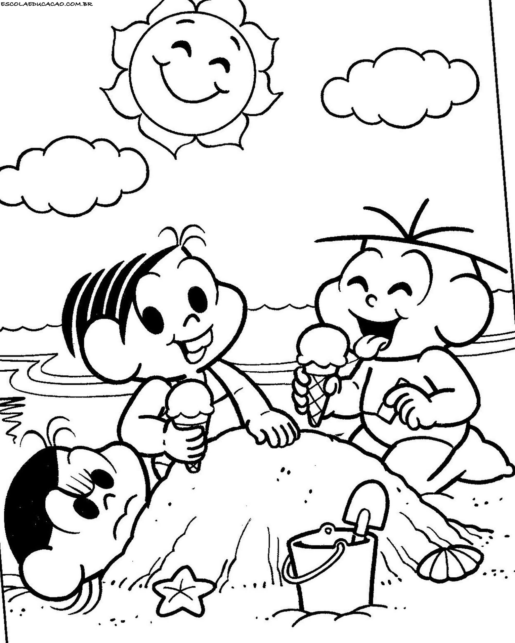 Desenhos Para Colorir Turma Da Monica Na Praia Em 2020