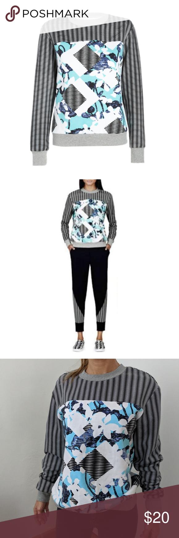 Peter Pilotto Pullover Sweatshirt Black White And Turquoise Dressy Sweatshirt For The Peter Piloto X Targe Clothes Design Dressy Sweatshirt Stretch Midi Dress [ 1740 x 580 Pixel ]