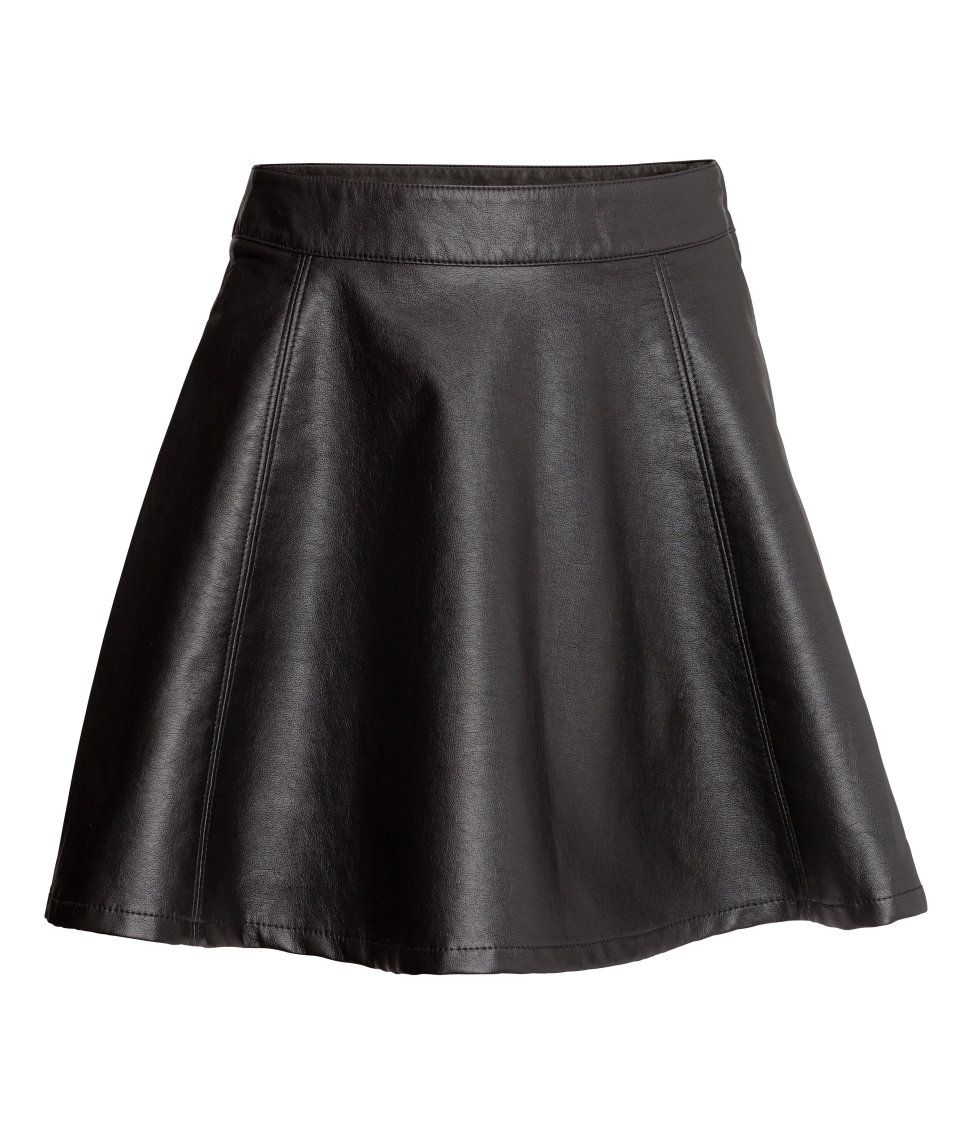 A short black faux leather flared skirt adds edge to any look ...