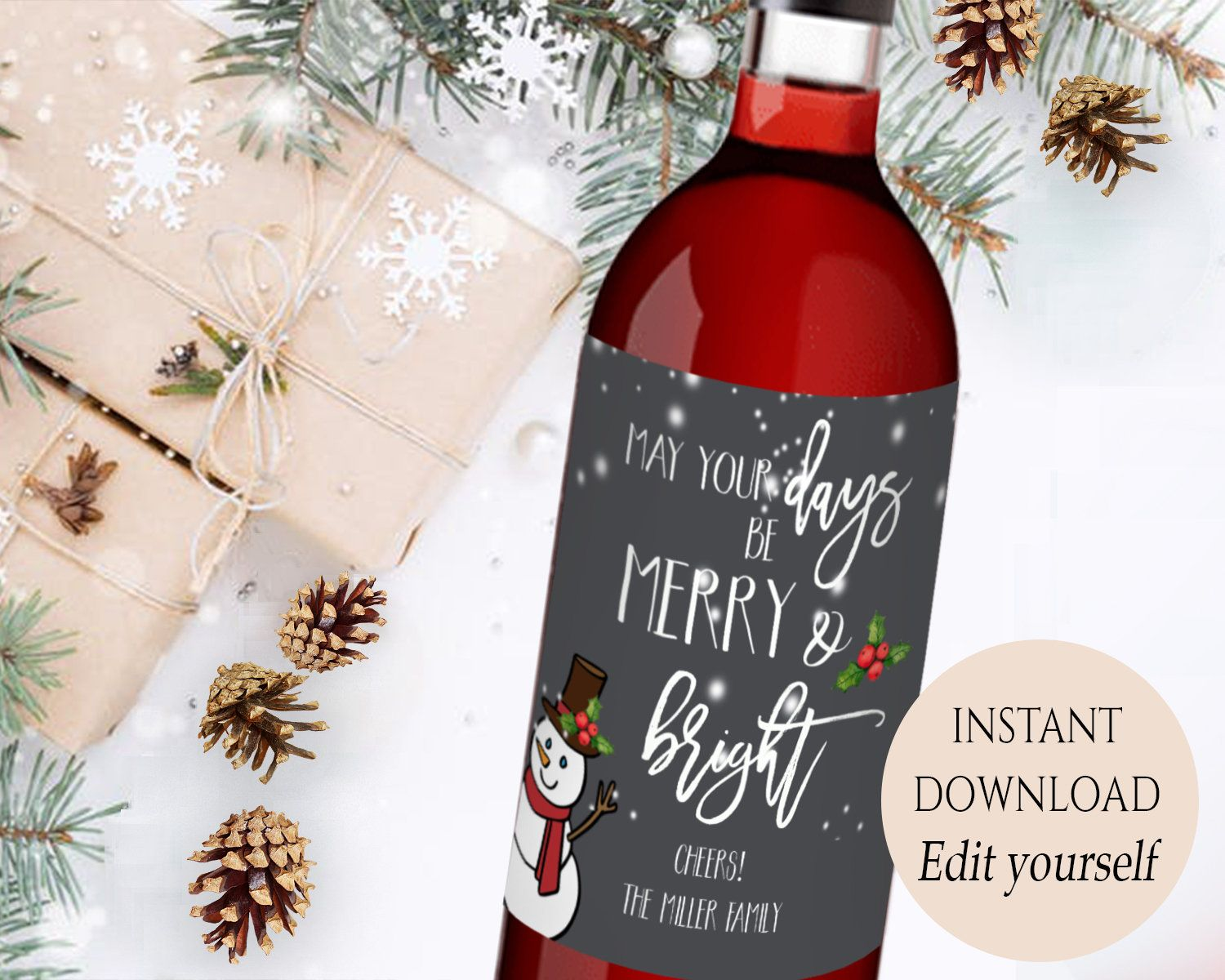 Christmas Wine Label Printable Christmas Wine Labels Editable Pdf May Your Christmas Wine Label Personalized Wine Labels Christmas Christmas Wine Bottle Labels
