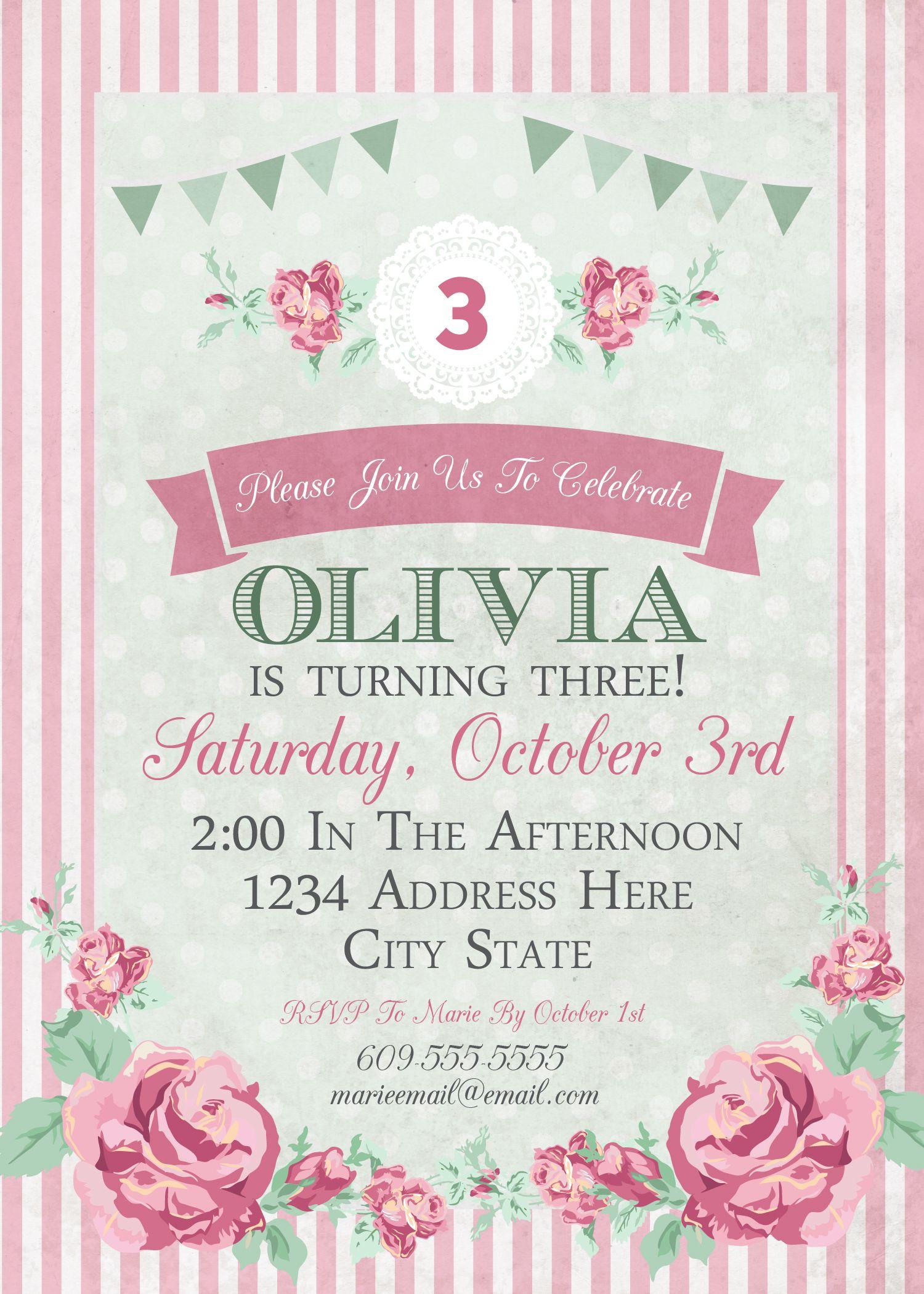 Shabby Chic Birthday Invitation | Tea Party Ideas | Girl's ...
