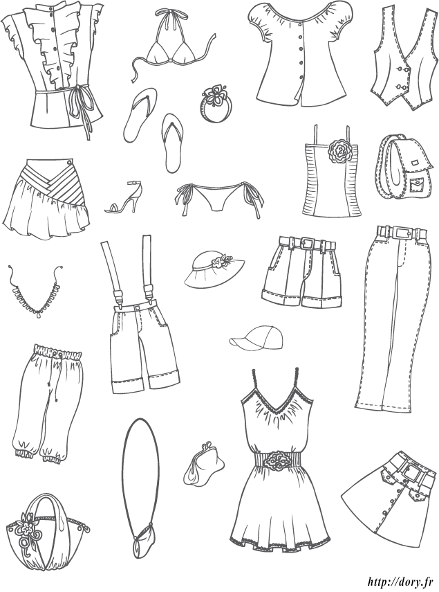Dessin à Imprimer Des Vêtements Et Accessoires Dété Pour Filles