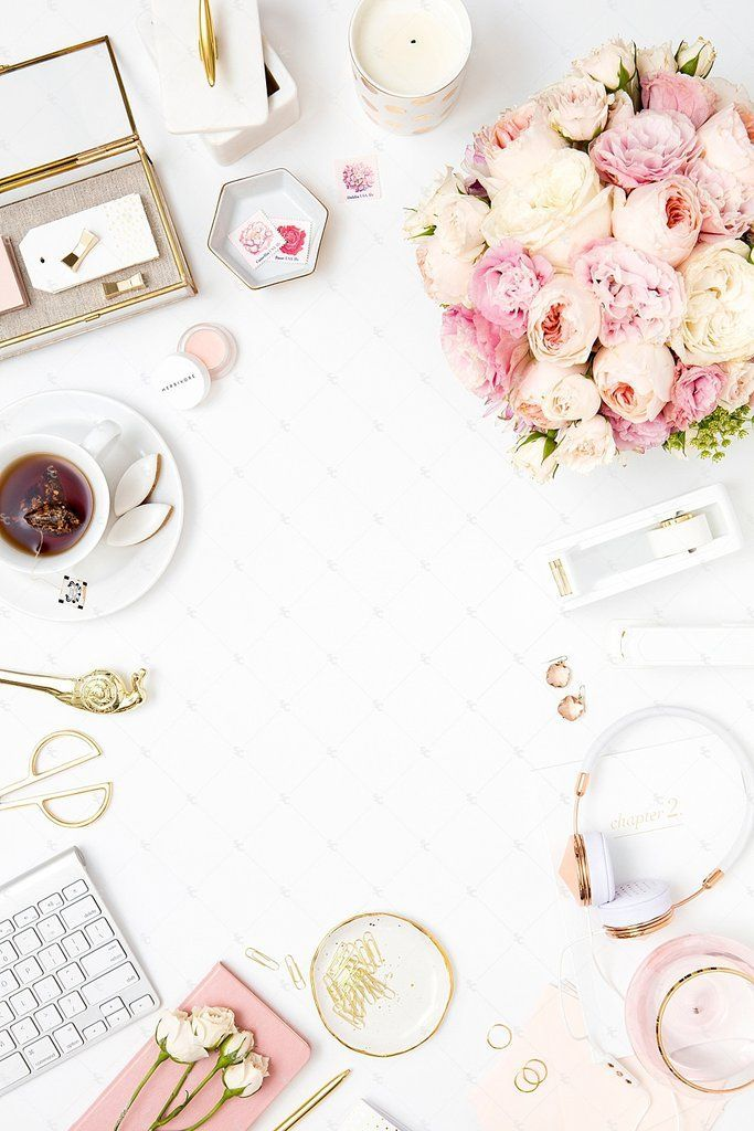 Blush Pink And Gold Desktop Styled Stock Photography For Creative Businesses Premium From