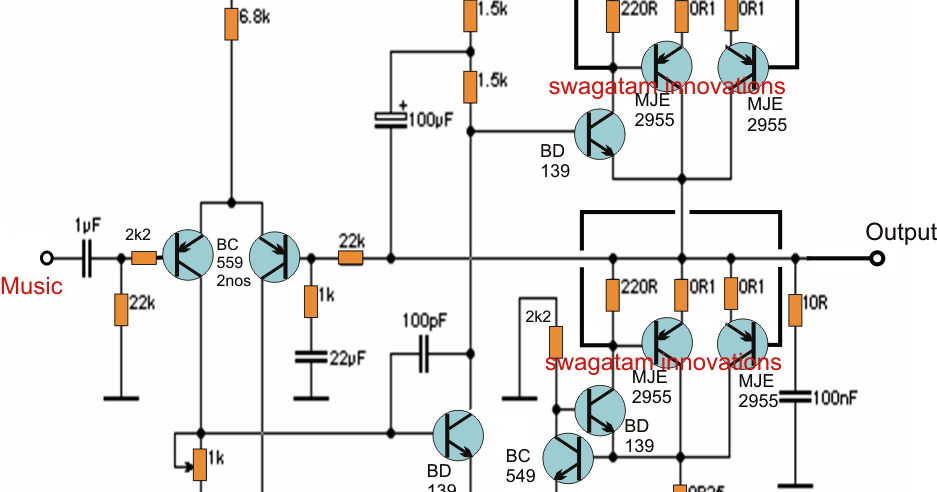 the post details a simple 20 watt power amplifier circuit which uses