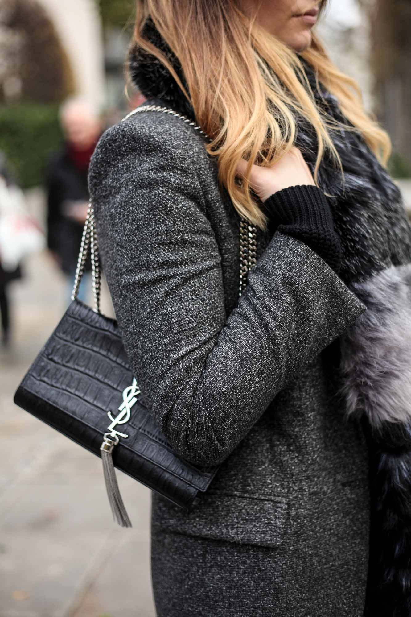 YSL black croc tassel bag in silver  8909cca732e16
