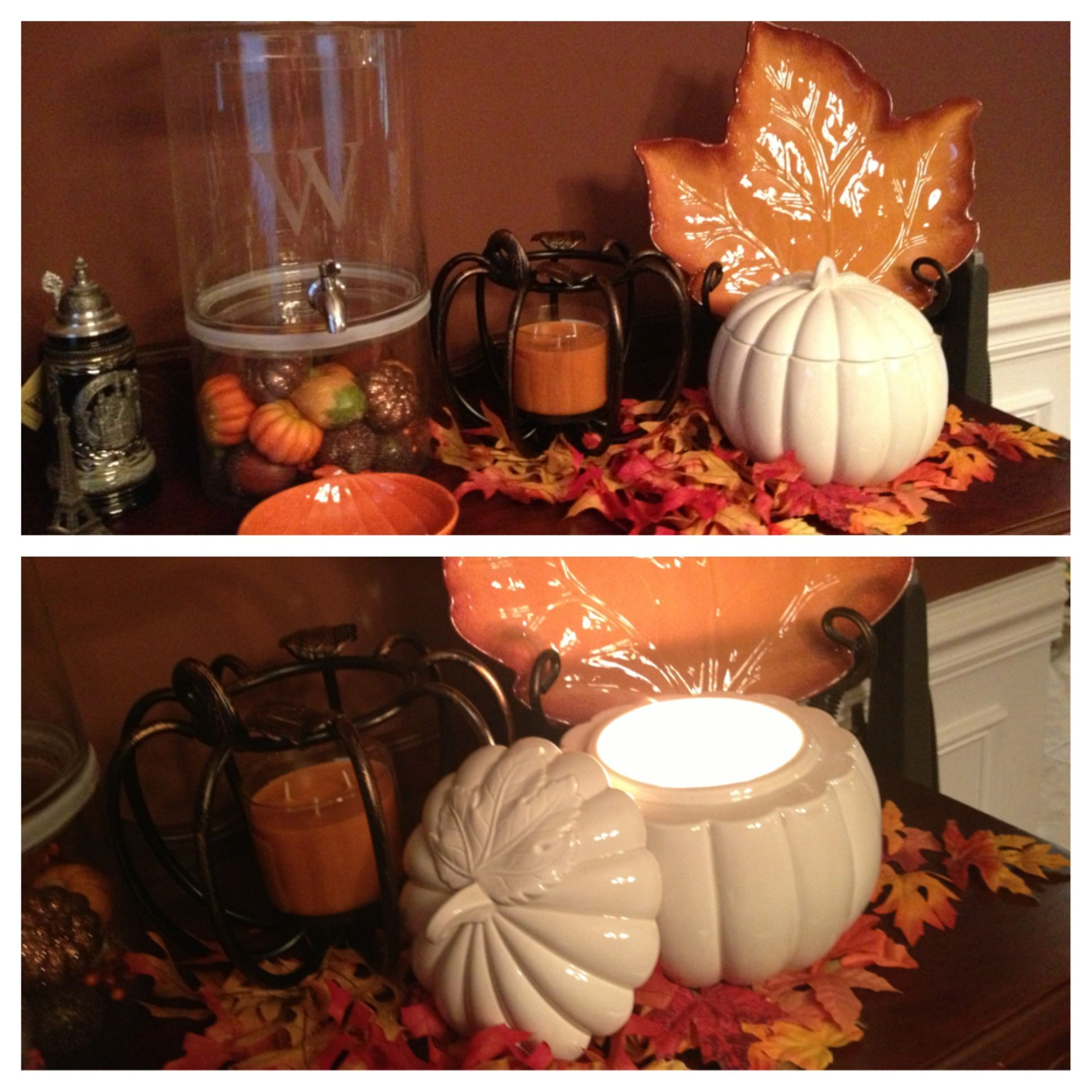 Love This Fall Decor White Ceramic Pumpkin And Wrought Iron
