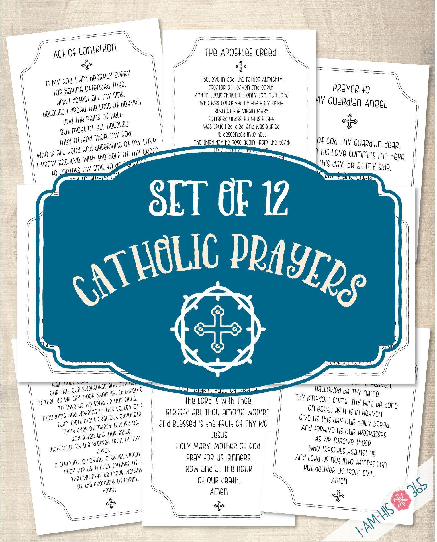 Catholic prayer print set of 12 catholic prayer
