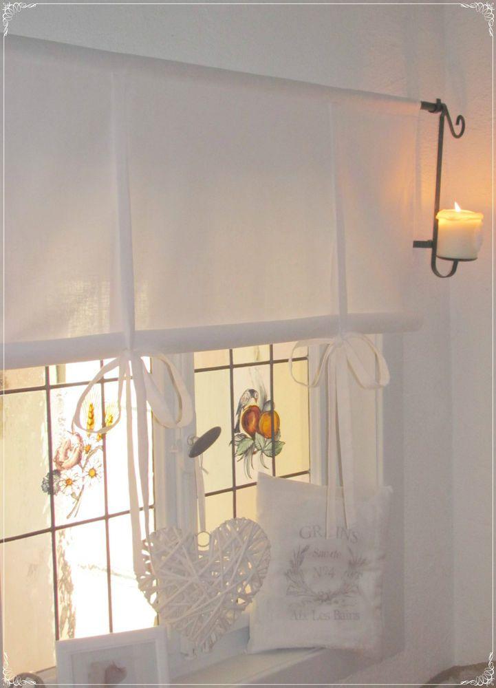 details zu gardine raffrollo wei 80 100 120 140 155 x 100 cm lang landhaus shabby vintage in. Black Bedroom Furniture Sets. Home Design Ideas