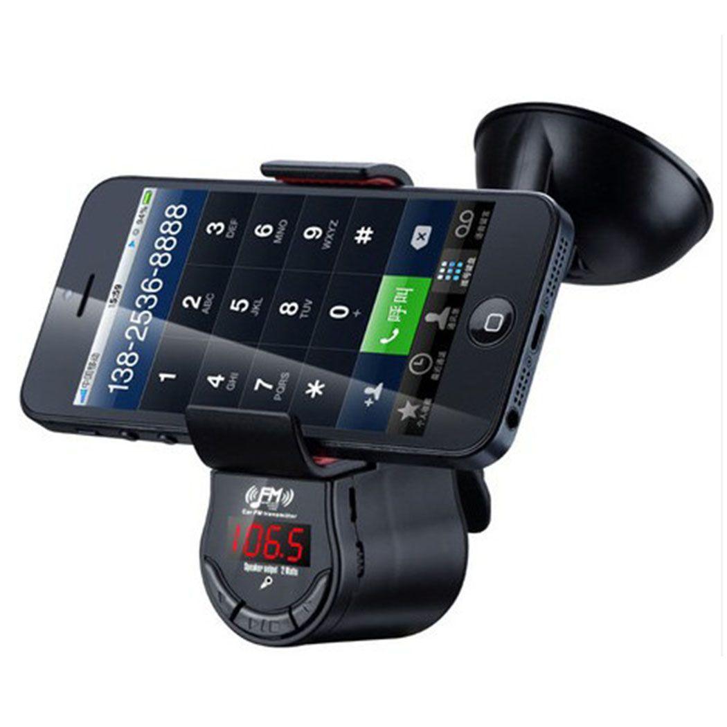 All In One Socket Free Wireless Fm Transmitter With Super Grip In Car Phone Holder Built In Speaker 2 Mode Hand Fm Transmitters Car Phone Mount Transmitter