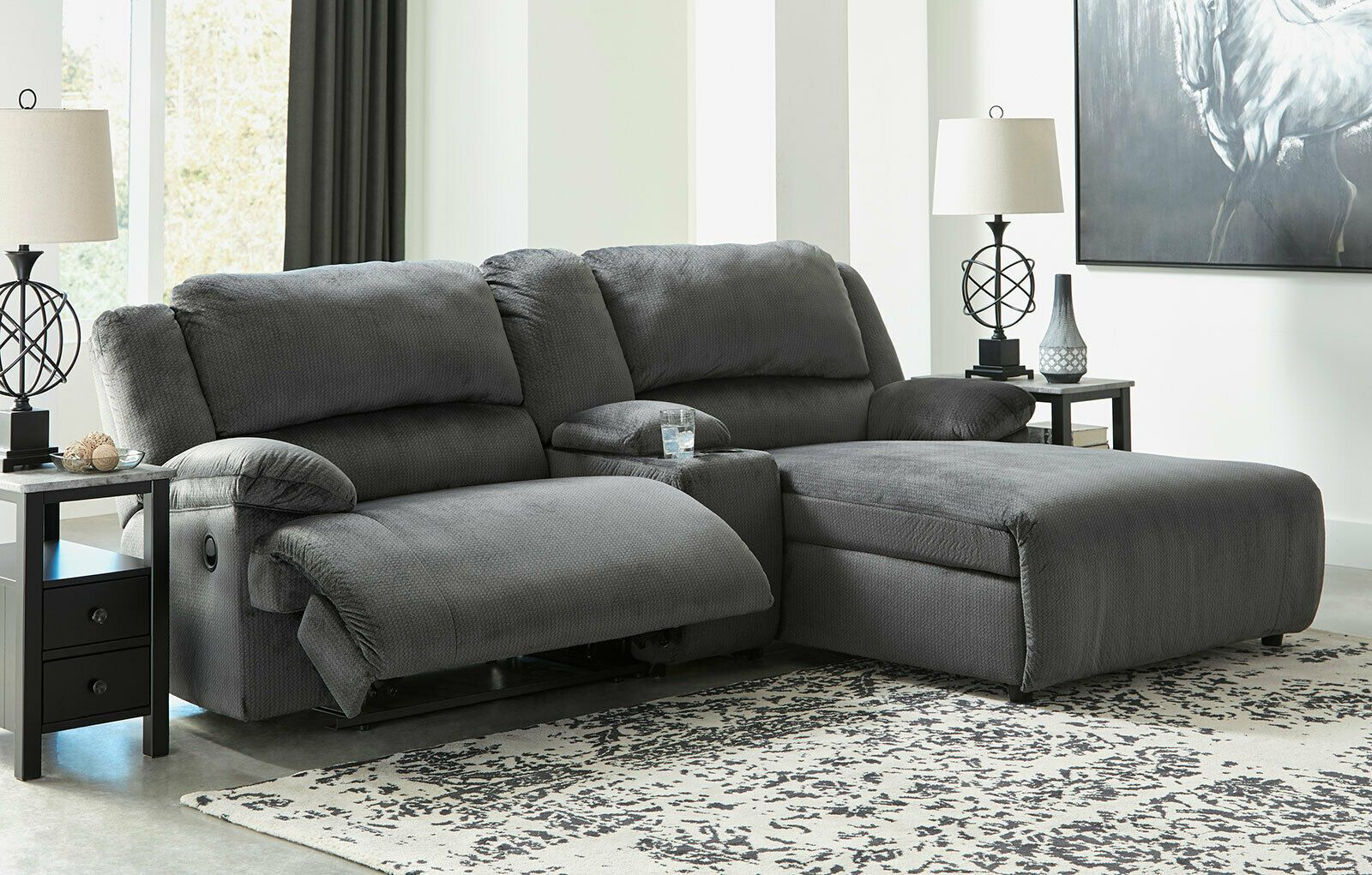 Surprising Naples Living Room Sectional Gray Microfiber Reclining Sofa Andrewgaddart Wooden Chair Designs For Living Room Andrewgaddartcom