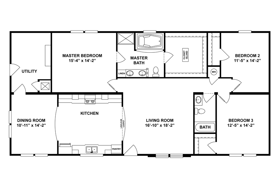 Floorplan 2062 62x32 Fk3 2 Oakwood 58cla32623ah Oakwood Homes Of Shelby Shelby Nc Oakwood Homes Floor Plans House Plans